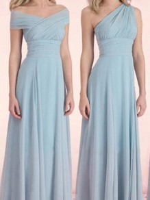 Blue Patchwork Belt V-neck Sleeveless Elegant Maxi Dress