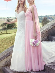 Pink Patchwork Belt Multi Way V-neck Sleeveless Elegant Bridesmaid Prom Maxi Dress