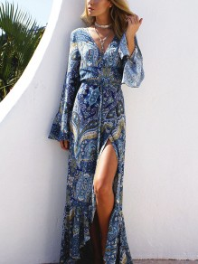 Blue Floral Print Belt Slit V-neck Flare Sleeve Fashion Bohemian Maxi Dress