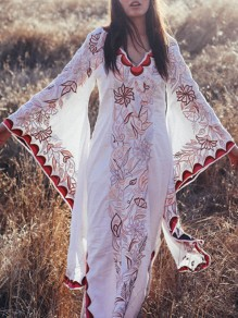 White Floral Print V-neck Flare Sleeve Elegant Bohemian Beach Maxi Dress