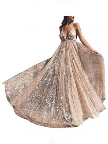 Golden Patchwork Grenadine Draped Sequin Glitter Sparkly Spaghetti Strap Backless Deep V-neck Banquet Prom Maxi Dress