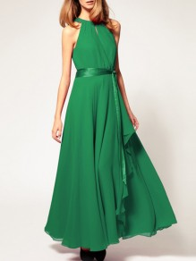 Green Chiffon Halter Neck Sashes Irregular Draped Sleeveless Elegant Maxi Dresses