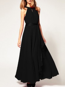 Black Chiffon Halter Neck Sashes Irregular Draped Sleeveless Elegant Maxi Dresses