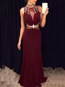Burgundy Patchwork Grenadine Pearl Rhinestone Cut Out Bodycon Mermaid Prom Evening Party Maxi Dress