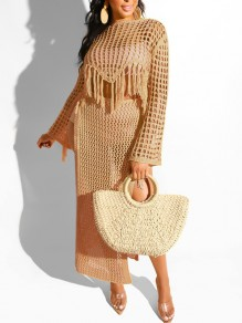 Camel Crochet Cut Out Tassel Side Slits Two Piece Sheer Bohemian Beachwear Maxi Dress
