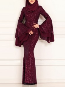 Burgundy Patchwork Sequin Bodycon Mermaid Bell Sleeve Sparkly Glitter Birthday Prom Evening Party Maxi Dress