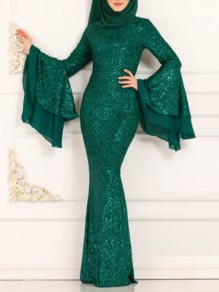 Green Patchwork Sequin Bodycon Mermaid Bell Sleeve Sparkly Glitter Birthday Prom Evening Party Maxi Dress