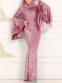 Purple Pink Patchwork Sequin Bodycon Mermaid Bell Sleeve Sparkly Glitter Birthday Prom Evening Party Maxi Dress