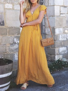 Yellow Polka Dot Draped Belt Slit V-neck Short Sleeve Fashion Bohemian Maxi Dress