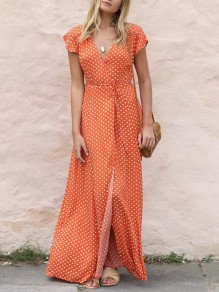 Orange Polka Dot Draped Belt Slit V-neck Short Sleeve Bohemian Maxi Dresses