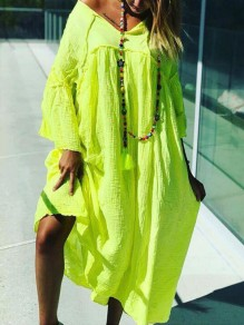 Neon Green Irregular One-Shoulder Draped Flare Sleeve Flowy Bohemian Maxi Dress
