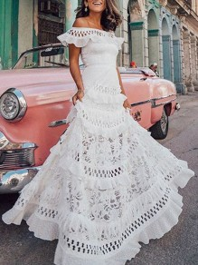 White Patchwork Lace Cut Out Ruffle Boat Neck Elegant Beach Wedding Prom Maxi Dress