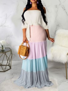 White Rainbow Striped Off Shoulder Belt Pleated Bohemian Beach Maxi Dress