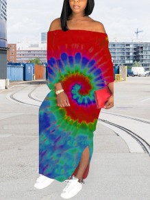 Red Tie Dyeing Off Shoulder Backless Bohemian Beach Maxi Dress