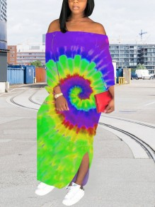 Purple Tie Dyeing Off Shoulder Backless Bohemian Beach Maxi Dress