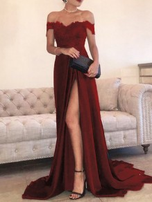 Wine Red Patchwork Lace Off Shoulder Pleated High Slit Elegant Prom Evening Party Maxi Dress