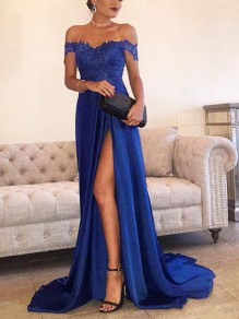 Blue Patchwork Lace Off Shoulder Pleated Thigh High Side Slits Prom Evening Party Maxi Dress