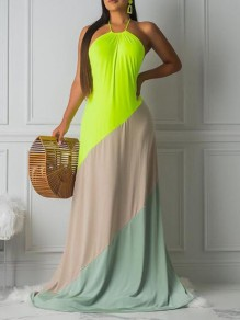 Neon Green Color Block Draped Halter Neck Backless Bohemian Maxi Dress