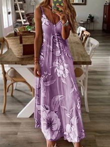 Purple Floral Spaghetti Strap Pleated Bohemian Beach Maxi Dress