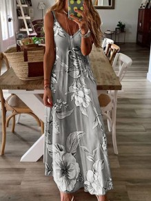 Grey Floral Spaghetti Strap Pleated Bohemian Beach Maxi Dress