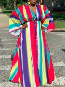 Red Rainbow Striped Rasta Pride Drawstring Pleated V-neck Bell Sleeve Plus Size Bohemian Beach Maxi Dress