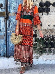 Red Tribal Floral Print Pleated Half Sleeve Flowy Casual Beach Bohemian Maxi Dress