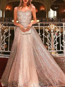 Golden Patchwork Sequin Spaghetti Strap Backless Bodycon Glitter Sparkly Elegant Wedding Evening Prom Party Maxi Dress