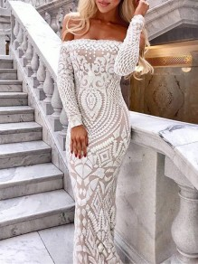 White Patchwork Lace Off Shoulder Bodycon Mermaid Prom Evening Party Maxi Dress