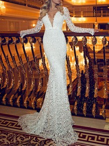 White Patchwork Lace Deep V-neck Backless Fishtail Bodycon Elegant Wedding Prom Cocktail Party Maxi Dress