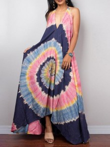 Navy Blue Irregular High-low Deep V-neck Tie Dye Jamaica Rasta Bohemian Maxi Dress