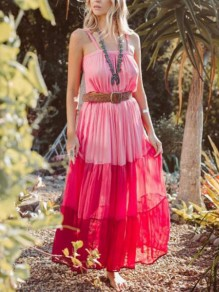 Rose Carmine Patchwork Pleated Spaghetti Strap Gradient Color Flowy Boho Bohemian Maxi Dress