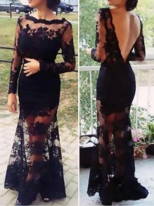 Black Patchwork Lace Cut Out Tiered Backless Mermaid Elegant Homecoming Prom Maxi Dress