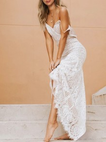 White Patchwork Lace Bodycon Ttrendy Cocktail Party Sweet Maxi Dress