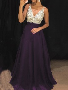 Purple Patchwork Sequin Pleated V-neck Sparkly Glitter Birthday Prom Evening Party Maxi Dress