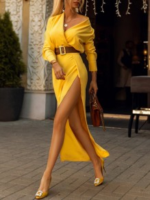 Yellow Irregular One Shoulder Side Slit Banquet Elegant Party Maxi Dress