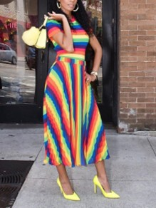 Green-Yellow Rainbow Striped Pleated High Waisted Jamaica Rasta Bohemian Maxi Dress
