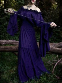 Purple Patchwork Irregular Long Sleeve Boat Neck Witch Halloween Maxi Dress