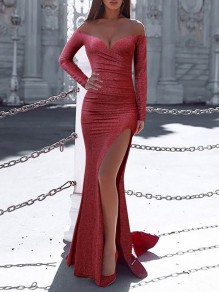 Red Off Shoulder Bright Wire Bodycon Mermaid Thigh High Side Slits Prom Evening Party Maxi Dress
