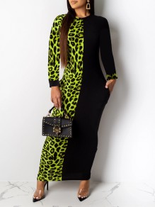 Green Leopard Print Pockets Bodycon Party Maxi Dress