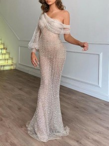 Apricot Patchwork Sequin Irregular One-Shoulder Mermaid Lantern Sleeve Banquet Elegant Party Maxi Dress