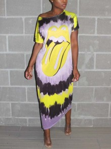 Neon Yellow Tie Dyeing Lips Rolling Stones Casual Maxi Dress