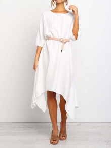White Pleated Irregular Dolman Sleeve Boho Homecoming Party Maxi Dress