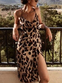 Leopard Spaghetti Strap Thigh High Side Slits Bodycon V-neck Party Maxi Dress