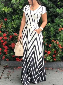 White Striped Pleated Pockets Bohemian Party Maxi Dress
