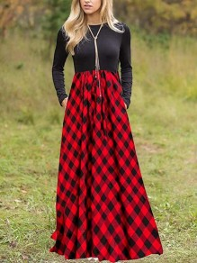 Red Plaid Buffalo Checkered Pleated Pockets Homecoming Party Countryside Maxi Dress