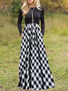 Grey Plaid Buffalo Checkered Pleated Pockets Homecoming Party Countryside Maxi Dress