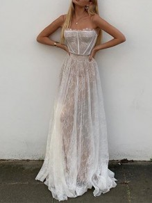 White Lace Fashion One Piece Cocktail Party Maxi Dress