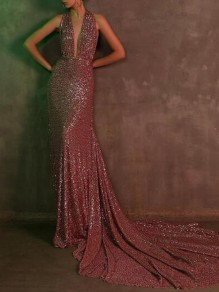 Rose Gold Sequin Deep V-neck Halter Neck Mermaid Backless Banquet Party Maxi Dress
