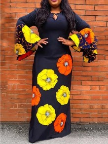 Black Floral Bell Sleeve Bodycon Plus Size Party Maxi Dress