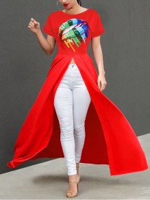 Red Rainbow Lips Irregular High-Low Casual Maxi Dress